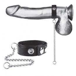 "Утяжка на пенис с поводком Snap Cock Ring With 12"" Leash (BlueLine)"